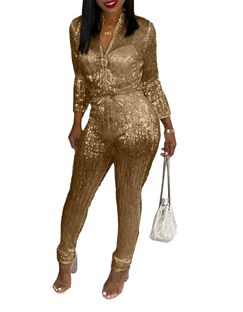 c9a8f9f0254 Amazon.com  Remelon Womens Sexy V Neck Glitter Long Sleeve Zipper  Drawstring Bodycon High Waisted One Piece Jumpsuits Rompers  Clothing