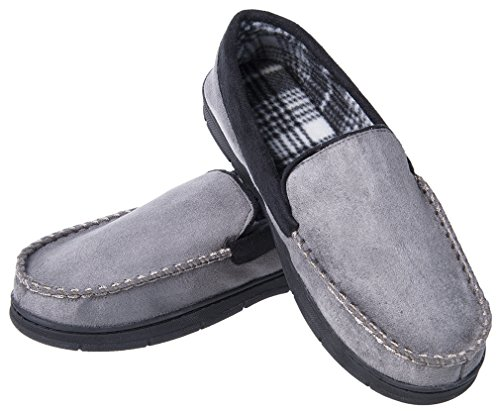 Festooning Men's Casual Pile Lined Indoor Outdoor Rubber Sole Micro Suede Moccasin Flats Slippers GrBl XXL