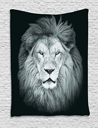 Ambesonne Safari Decor Collection, Huge Male African Lion Head