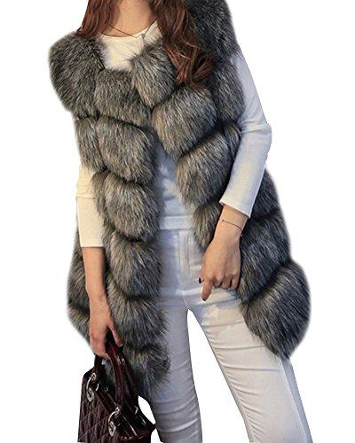Fox sans au Outerwear Noir Manche Manteau Fausse Fourrure Chaud Veste en Gilet Garder Femme wOqgXaO
