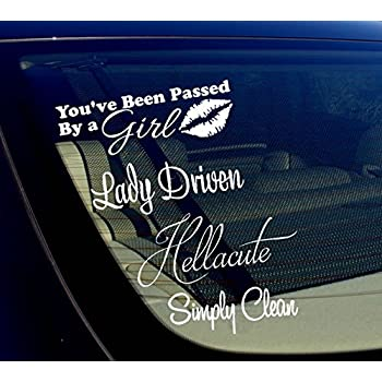 Lady driven passed by girl jdm sticker bomb pack lot of 4 vinyl decal stickers