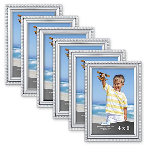Icona Bay 4x6 Picture Frames (6 Pack, Silver) Picture Frame Set, Wall Mount or Table Top, Set of 6 Inspirations Collection (6 Photo Frame Silver)