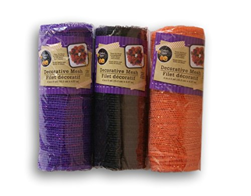 Decorative Mesh - 3 Pack Crafter's Corner Decorative Mesh - Black, Purple and Orange with Metallic Strands - 6 in. x 5 yds Each