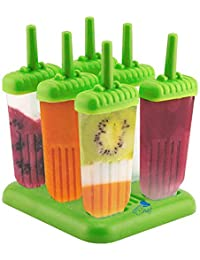 PickUp 6 Popsicle Molds - Ice Pop Maker Set with Tray and Drip Guard, BPA Free, Green - By Chuzy Chef® deal