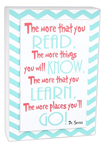 Dr. Seuss Read More 5 x 8 White Teal Wood Sign Plaque (Dr Seuss Signs)