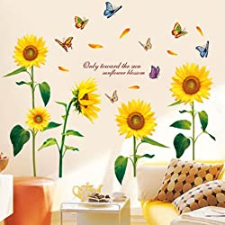 105*125cm Sunflower wall stickers childroom wall stickers applique home decor removable sticker