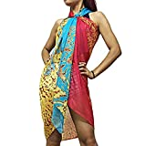 Xcellent Global Sarong Beach Cover Dress Swimsuit Bikini Wrap Scarf with Buckle, Red & Blue BT010R