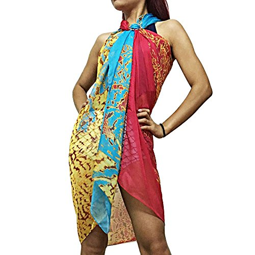 Xcellent Global Sarong Strandtuch Kleid Badeanzug Bikini Wickelschal Mit Schnalle, Red & Blue BT010R