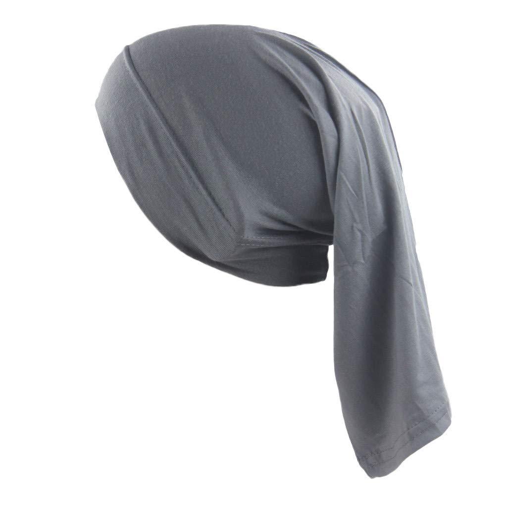 Womens Muslim Islamic Solid Color Cotton Hijab Cap Head Under Scarf Shawl Turban Elastic Tie Back Headscarf Dark Gray