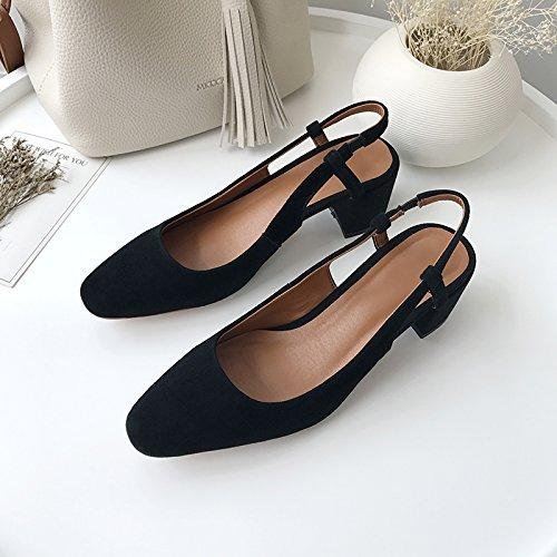 Chaussures Mot Travail Boucle Simple De Gros De Talon unie Haut SHOESHAOGE Baotou Talon Sandales Couleur 74qYvUY