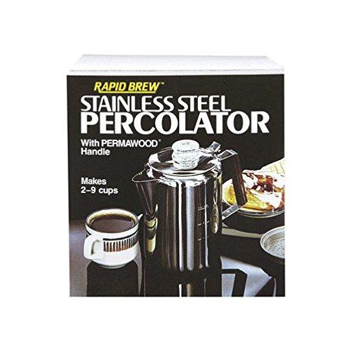Tops 55704 Rapid Brew Stovetop Coffee Percolator, Stainless Steel, 2-9 Cup (Coffee Pot Percolator Stove Top)