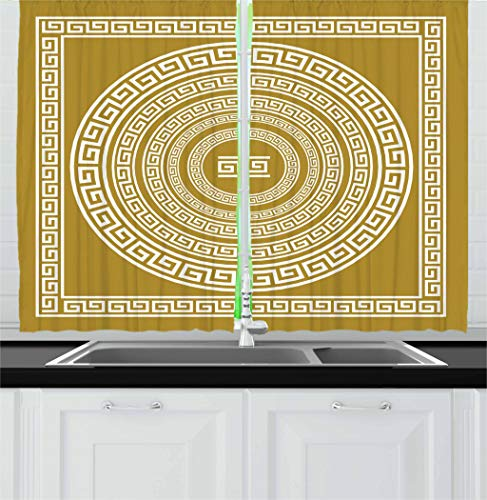 (Ambesonne Greek Key Kitchen Curtains, Frieze with Vintage Ornament Meander Pattern from Greece Retro Twist Lines, Window Drapes 2 Panel Set for Kitchen Cafe, 55 W X 39 L Inches, Pale Amber White)