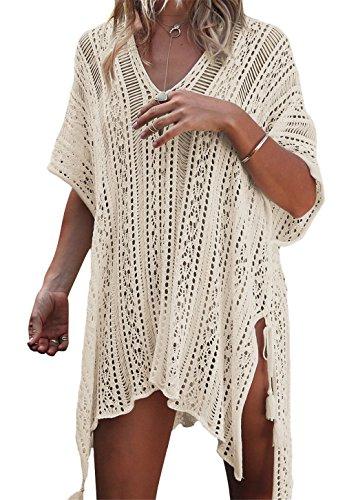Top Uncinetto Copricostume Camicetta Maglia da Beige Spiaggia Bikini Abito Tunica da Cover Bagno Kaftan Up Estate Donna in Maglia rnOwITXSxO