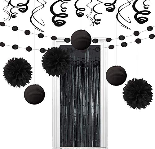 Party City Super Black Decorating Kit, Includes Doorway Curtain, Pom Poms, Paper Lanterns and More -