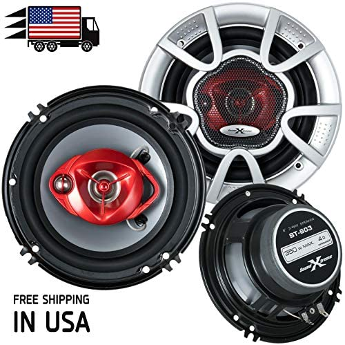 Pair of SoundXtreme 6″ in 3-Means 350 Watts Coaxial Automobile Audio Speaker CEA Rated (2 Audio system)