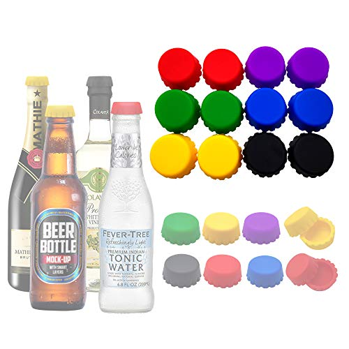 Beer Saver Silicone Bottle Caps Reusable Bottle Stopper to Keep Wine, Beer, Soft Drink, Soda Fresh for Days, Perfect for Party Kitchen