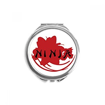 Amazon.com: Japan Ninja Words Sakura Silhouette Mirror Round ...