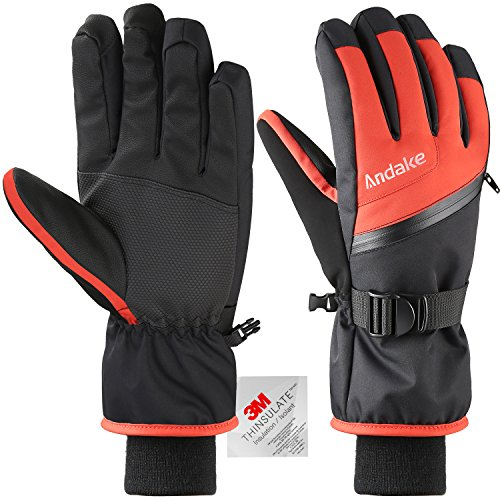Andake Ski Gloves, Touchscreen 3M Thinsulate Waterproof TPU Membrane Men's Winter Gloves with Non-Slip PU Palms, Zippered Pocket and Adjustable Wrist for skiing, snowboarding, climbing and skating (Ski Glove Gray)