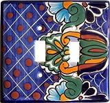 Double Toggle Blue Mesh Talavera Ceramic Switch Plate