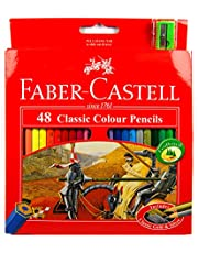 Coloured, Smooth and Easy Faber Castell Classic Coloured Pencils with Sharpener 48 Pieces, (10472)