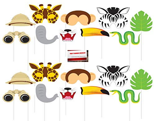 Zebra Photo - Jungle Forest Animals Safari Zebra Lion Elephant Monkey (20 pcs) Party Photo Booth Props (Plus Party Planning Checklist by Mikes Super Store)