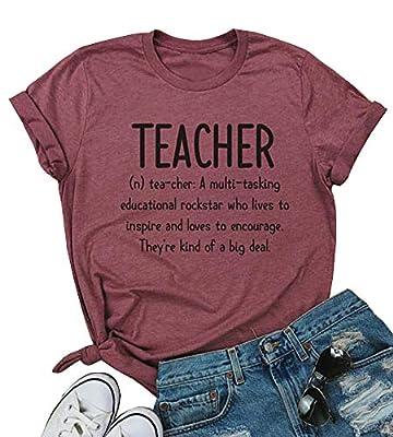 MOMOER Teacher Shirt for Women Funny Inspirational Letter Printed T Shirt Ladies Summer Short Sleeve Casual Tee Tops