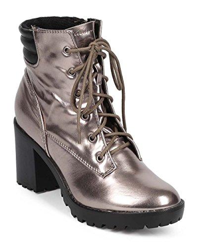 Women Polished Round Toe Block Heel Ribbed Combat Boot DE00 - Gun (Size: 8.5) (Breckelles Boots Women Combat)