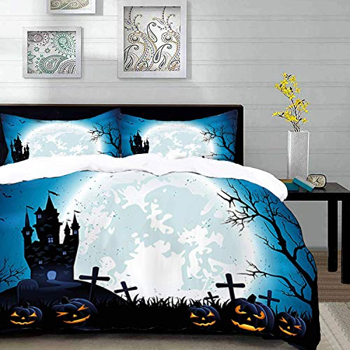 Duvet Cover Set,Halloween ations Theme Design,Spooky Concept with Halloween Icons Old Celtic Harvest Festival Figures in Dark Image,Queen/Full Size Decorative 3 Piece Bedding Set with 2 Pillow Shams,P ()