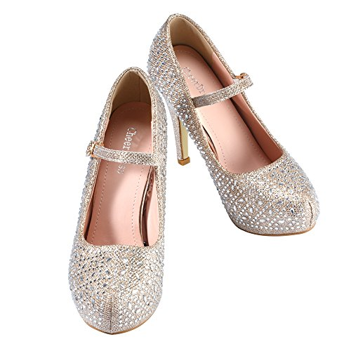 Heel Gold CHEERDRESS Jane Shoes Round CHEERDRESS Round High Toe Mary zdw0n7q