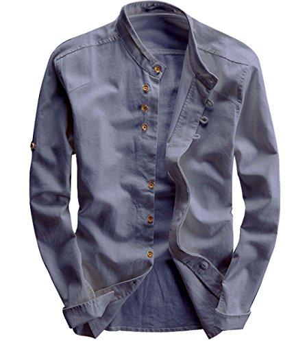(utcoco Men's Vintage Linen Stand Collar Button up Shirt Long Sleeve (Small, Grey))