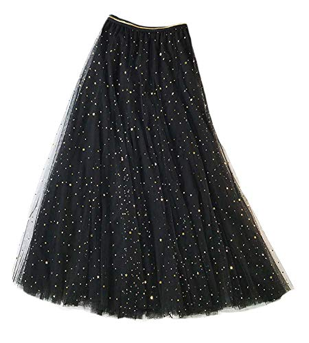 - Elufly Women Summer Lace Mesh Skirt Elastic Waistband Layered A-line Midi Skirt (Model 3-Black, One Size Fit Most People)