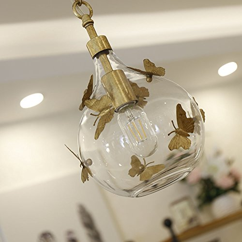Docheer Vintage Rust Metal and Glass Ceiling Pendant Light for Kitchen Island, Bedroom, with Gold Iron Butterfly Decor, Glass Gold Chandelier for Dinning Room Home Decoration by Docheer (Image #4)