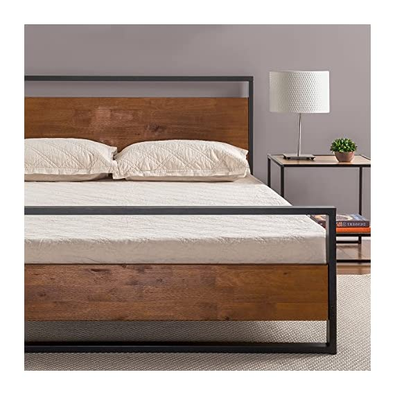 8f9bd7ead060da Zinus Suzanne Metal and Wood Platform Bed with Headboard and Footboard /  Box Spring Optional /