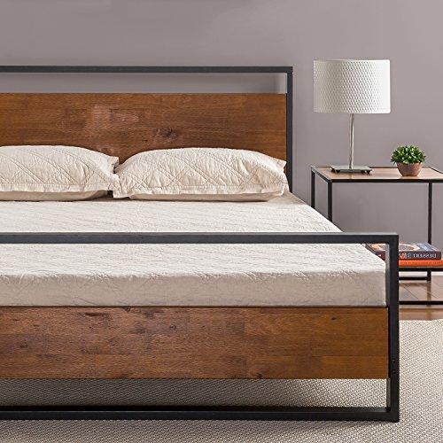 Zinus Ironline Metal and Wood Platform Bed with Headboard and Footboard / Box Spring Optional / Wood Slat Support, Queen (Pine Headboards Bed)