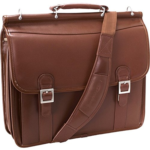 Halsted Leather - McKleinUSA Halsted 80334 V Series Full Grain Oil Tanned Leather Double Compartment Laptop Case (Brown)