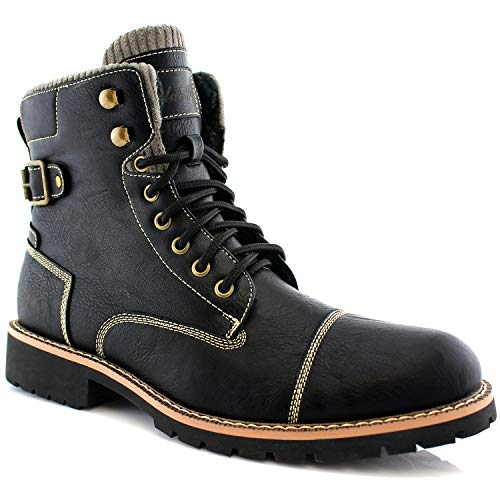 Polar Fox Brady MPX508571 Mens Casual Classic Combat Fur Lined High-Top Motorcycle Boots - Black, Size 9.5