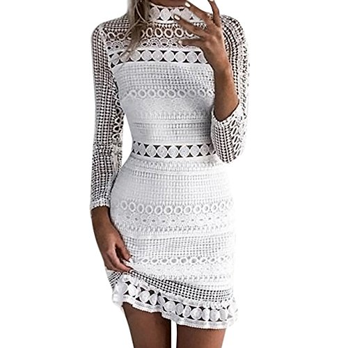 Womens Sexy Bodycon Mini Dress,Long Sleeve Lace Crochet Hollow Out Embroidered Cocktail Party Pencil Dresses White