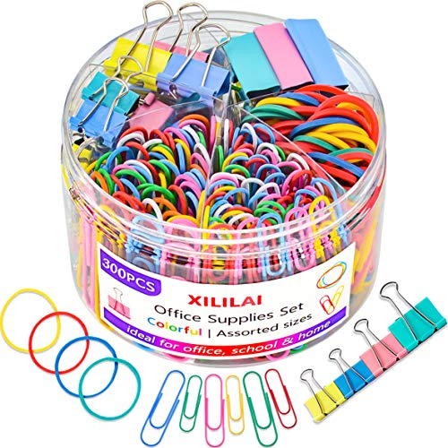 Paper Clips Binder Clips, Colored Office Set - Assorted Multicolored