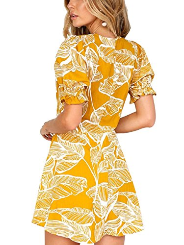 Des Femmes En Mode Ca V-cou Imprimé Floral Manches Courtes Mini-robe Jaune