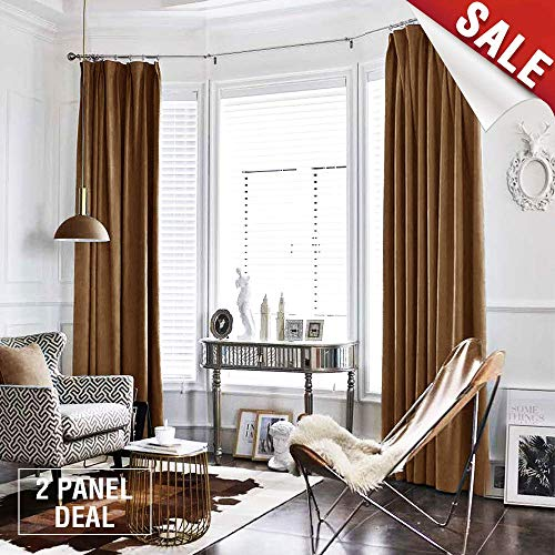 jinchan Gold Brown Curtains Velvet Drapes Bedroom Window Curtains 84 Inch Long Living Room Rod Pocket Window Treatment Set 2 Panels