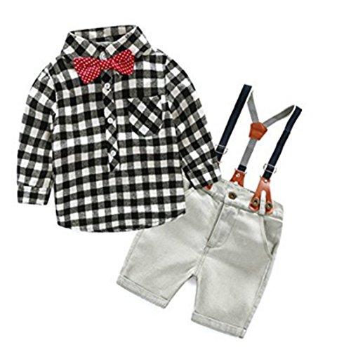 DUTUT Baby Boy Gentleman Bowtie Plaid Shirt and Denim Suspenders Shorts Set (Short Denim Bow)