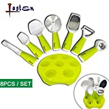 kitchen aid pizza slicer - Lasten Kitchen Gadgets Set, 8 Pieces Kitchenware Utensils Set with Stand, Include Bottle Opener, Pizza Cutter, Ice Cream Scoop, Grater, Apple Corer, Peeler, Cheese Slicer, and Stand