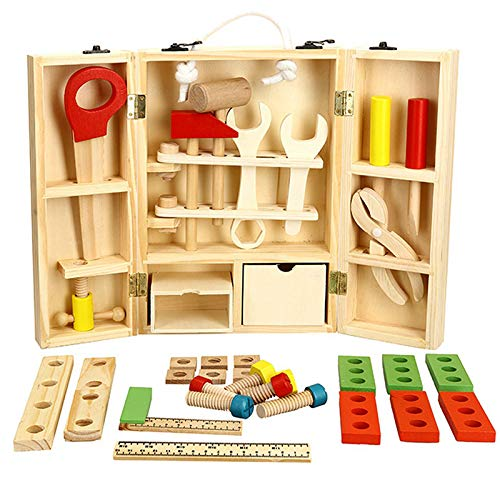 Weksi Wooden Tool Toys Toolbox Kids Toy Educational Toy DIY Construction Toolbox Pretend ToysPortable Family Games 43pcs