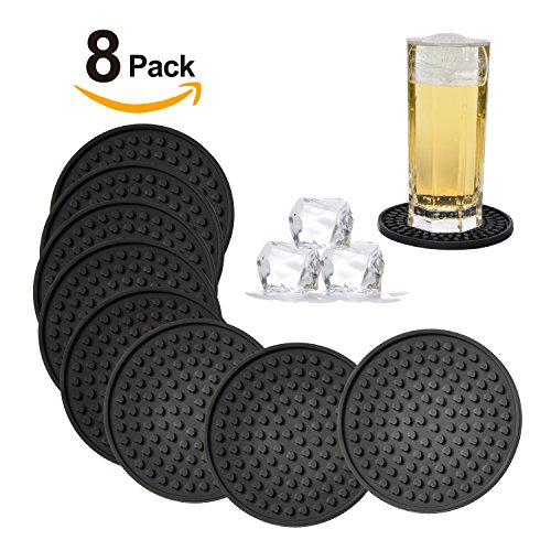 Silicone Drink Coasters Set of 8-Deep Tray,Large 4.3 inches Size Protect Table Desk From Drinks, Beverage,Water or Alcohol Like Whiskey, Beer, Wine,Tropical Cocktails by Kindga (Black-Heart) (Flowers Coasters)
