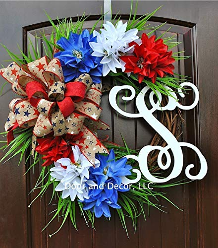 Patriotic Front Door Monogram Initial Wreath with Red, White, and Blue Starburst Dahlias on Grapevine Base with Star Print Natural Bow-20-22