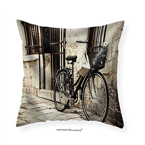 VROSELV Custom Cotton Linen Pillowcase Old Bicycle with Basket and Shopping Bag Parked in the Narrow Cobble Street - Fabric Home Decor 22