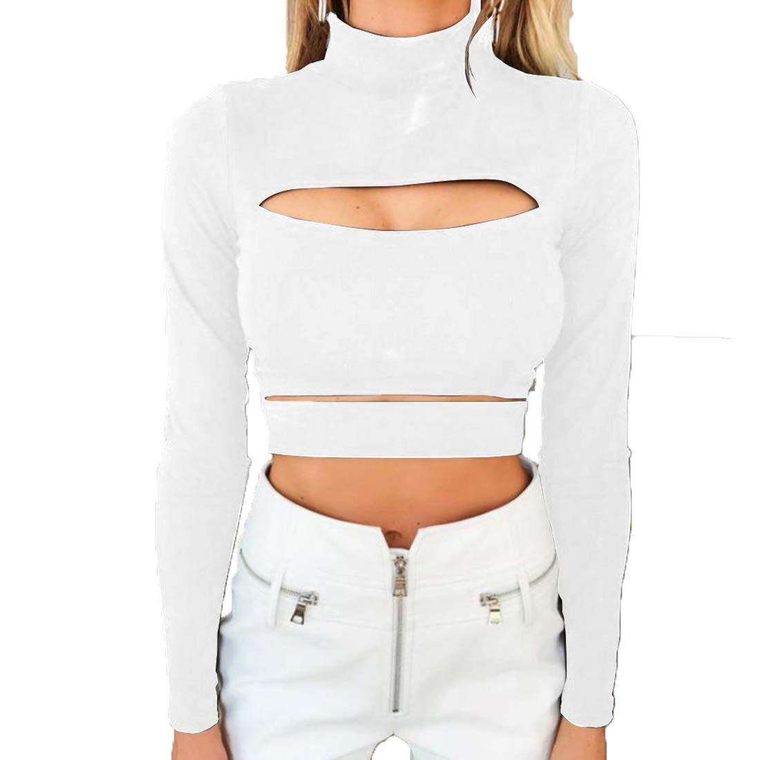 32553602464 Amazon.com: MOLFROA Women's Sexy Long Sleeve High Neck Chest Hollow Out  Teens Short T-Shirt Crop Tops: Clothing