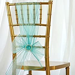 BalsaCircle 10 7.5-Inch Wide x 108-Inch Long Turquoise Organza Chair Sashes Bows Ties - Wedding Party Ceremony Reception Decorations
