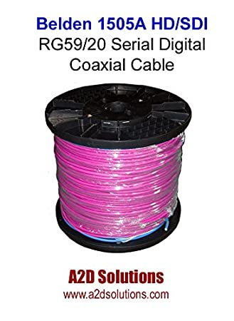 Amazon.com: Belden 1505A HD/SDI RG59/20 Serial Digital Coaxial Cable - 1,000 ft Violet: Home Audio & Theater