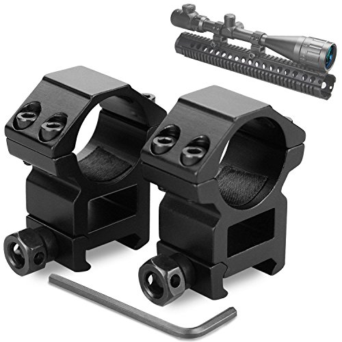 Modkin High Profile Scope Mounts for Picatinny/Weaver Rail (1 inch, Set of 2) (Double Picatinny Rails)